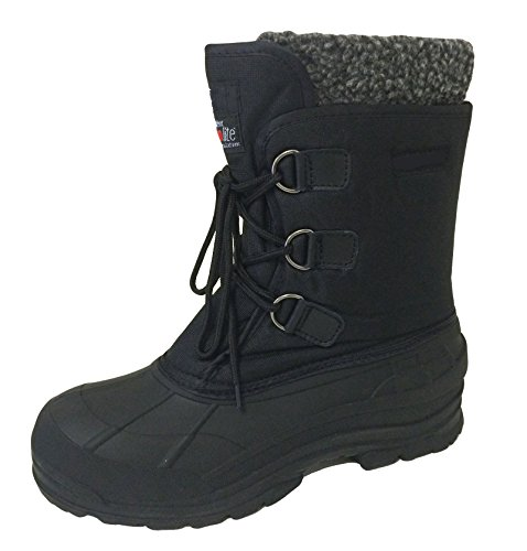 G-706SC Men's Winter Boots Cold Weather Water Repellent Nylon 9″ Thermolite Insulated Hiking Duck Warm Snow Shoes, Black