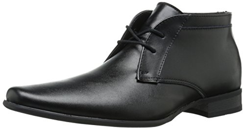 Calvin Klein Men's Ballard Leather Boot, Black, 10.5 M US