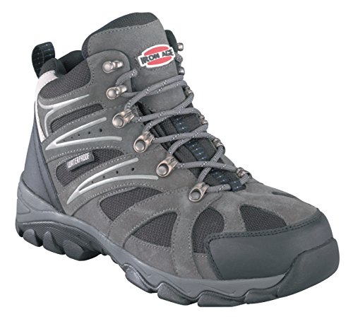 Iron Age Mens Grey WP Leather Mesh Hiker Boots Surveyor Steel Toe 10 W