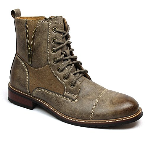 Ferro Aldo Men's Brown Dress Ankle Boots Cap Toe Side Zipper 808561