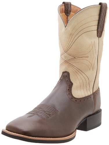 Ariat Men's Sport Wide Square Toe Western Boot, Washed Brown/Bone, 10.5 M US