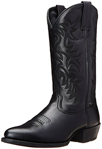 Ariat Men's Heritage Western R Toe Western Boot,  Black Deer Tan,  11.5 D US