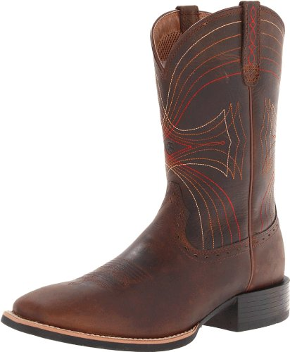 Ariat Men's Sport Wide Square Toe Western Boot, Distressed Brown, 11 M US