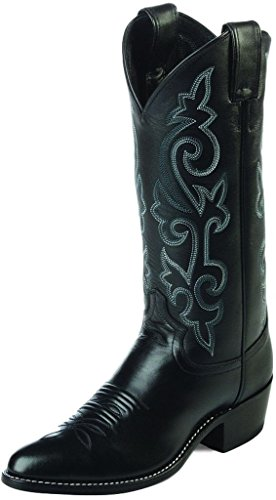 Justin Boots Men's 13″ Western Boot Medium Round Toe,Black London Calf,7.5 EE US