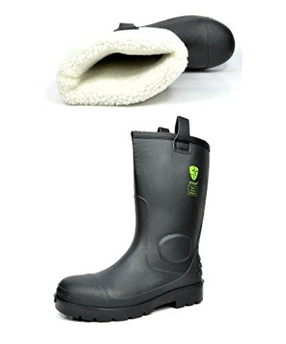 DP Men's 0613W Water Proof Fur Interior Black Rubber Winter Snow Rain Boots 8 M US