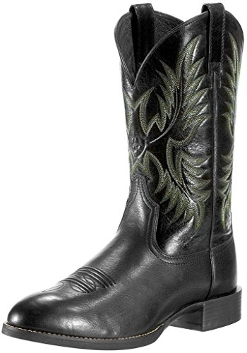 Ariat Men's Heritage Stockman Western Boot, Black Deertan/Shiny Black, 12 2E US