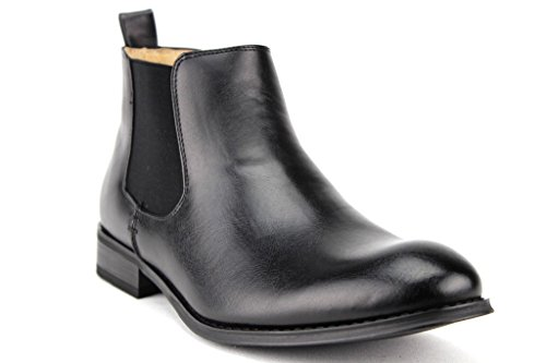 Majestic Men's 76350 Classic Leather Lined Ankle High Chelsea Dress Boots, Black Waxi, 9