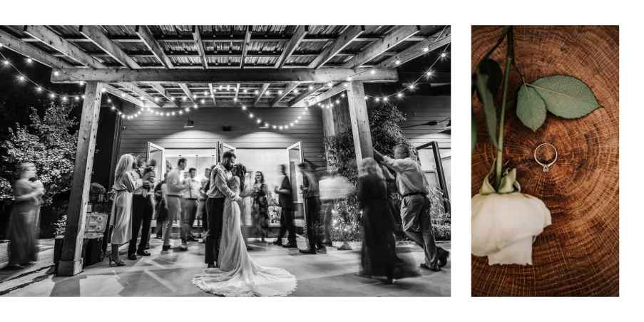 Bride and Groom's first dance under lights