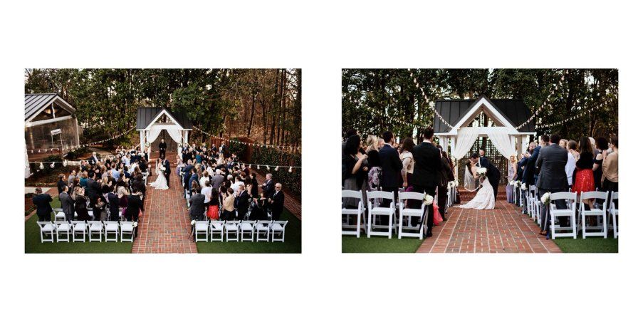 Two photographers capturing the wedding from multiple perspectives