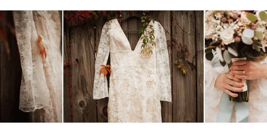 Wedding dress details against a wooden wall