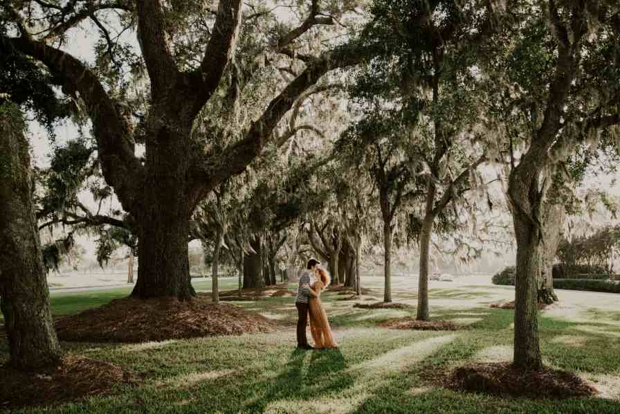 Couple under the mossy oaks St Simon