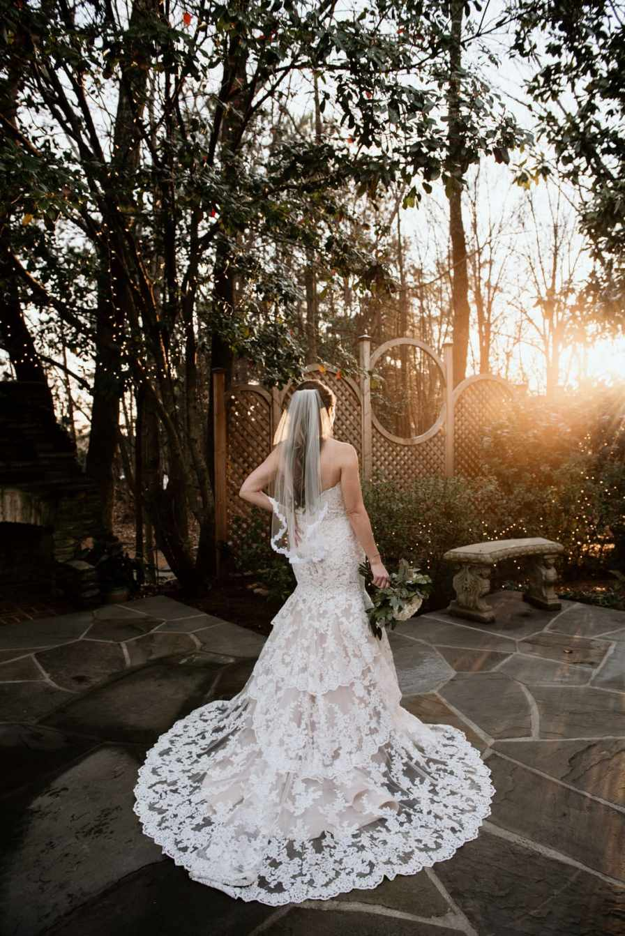 Bride on Flint Hill patio