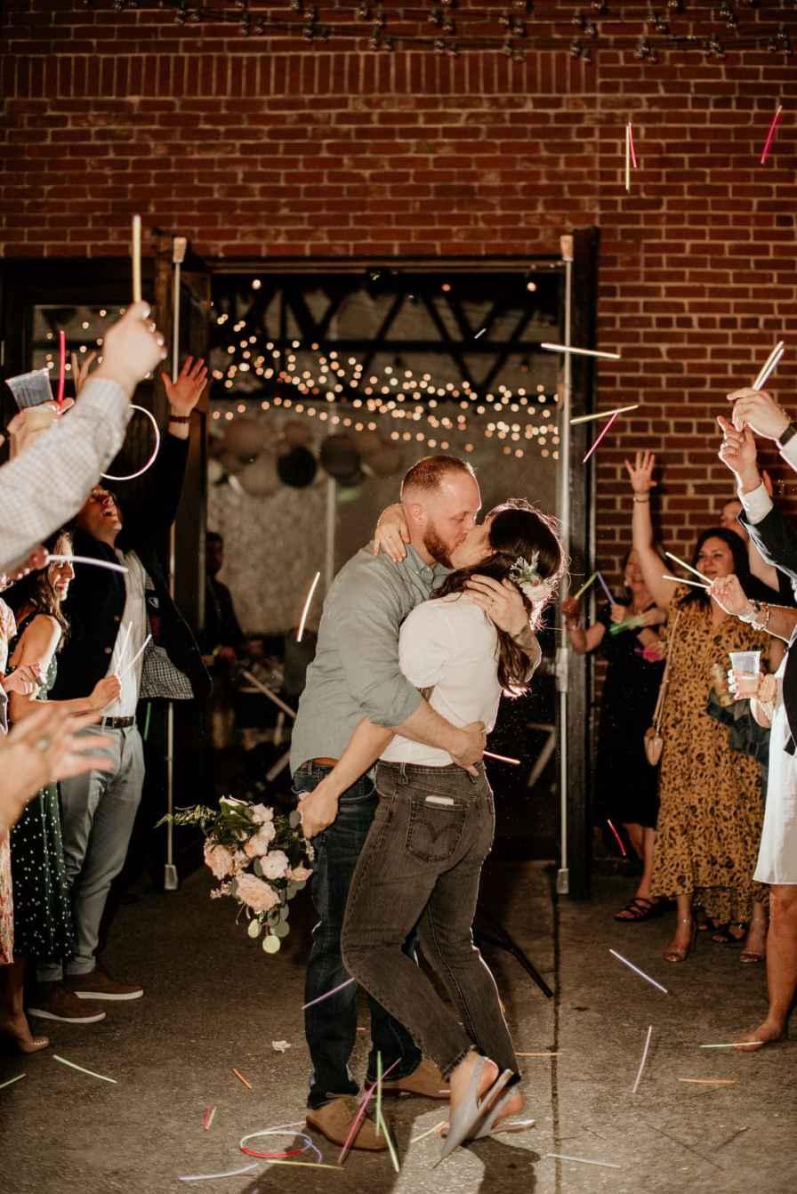 wedding exit send off glow sticks