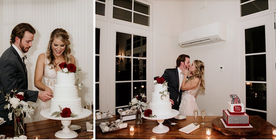 Bride and groom cake cutting at little river farms