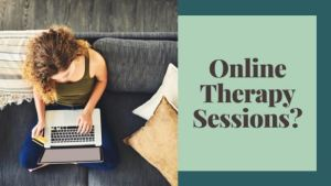 """A photo of a flyer reading """"online therapy session?"""" with a woman on her computer in the background. This flyer brings awareness to the accessibility of online therapy in Colorado. 