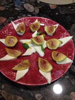 Fresh mozzarella cheese with figs.