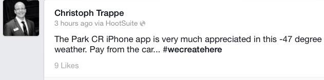 Facebook status on parking app