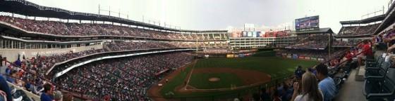 Panoramic of the Texas Rangers ballpark in Arlington