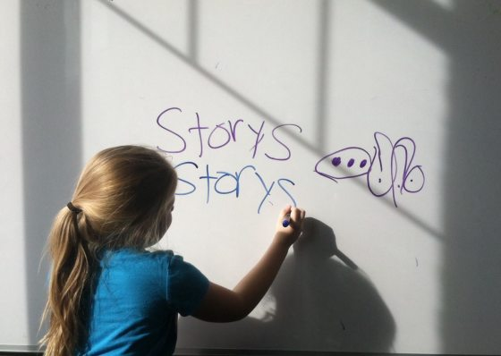Getting some info from the six-year-old on the structure of stories.