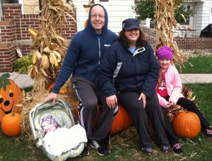 family picture at the pumpkin patch