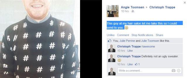 hashtag sweater facebook post