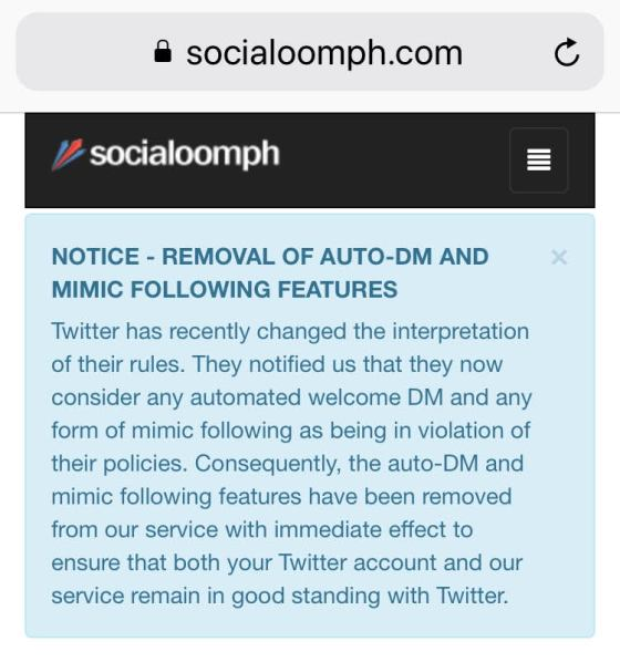 so socialoomph is turning the dm feature off after being notified by twitter that its violating rules also i used to use crowdfire for direct messages