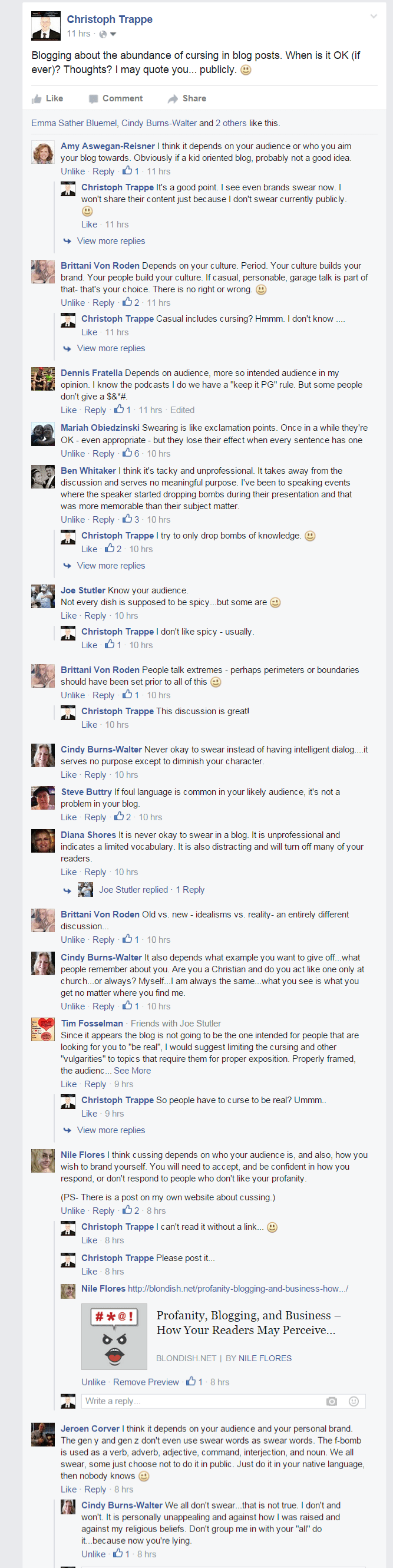 comments from facebook on cursing