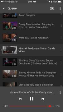 YouTube videos queue