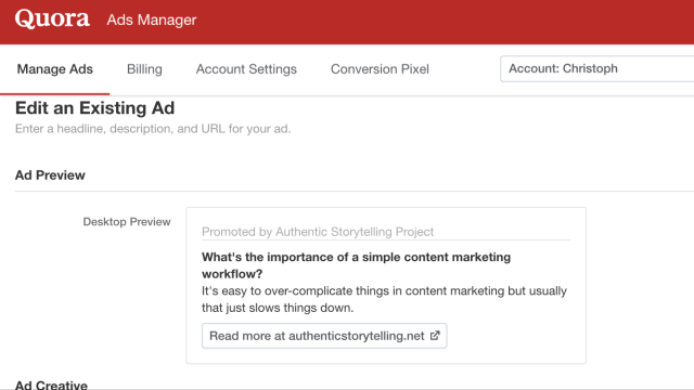 Quora ads manager review