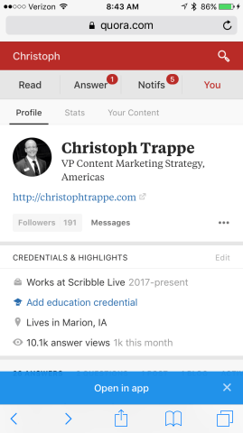 Quora profile example