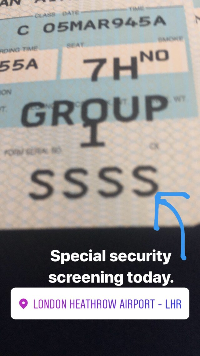 SSSS on boarding pass