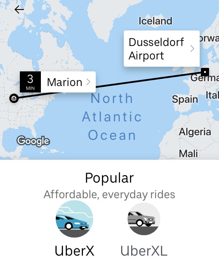 Uber sends me a driver to take me across the Atlantic Ocean