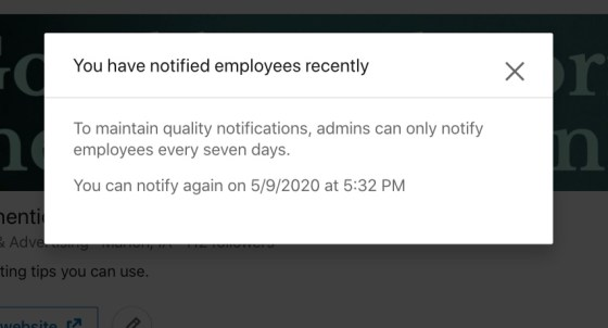 LinkedIn notify employees works every 7 days