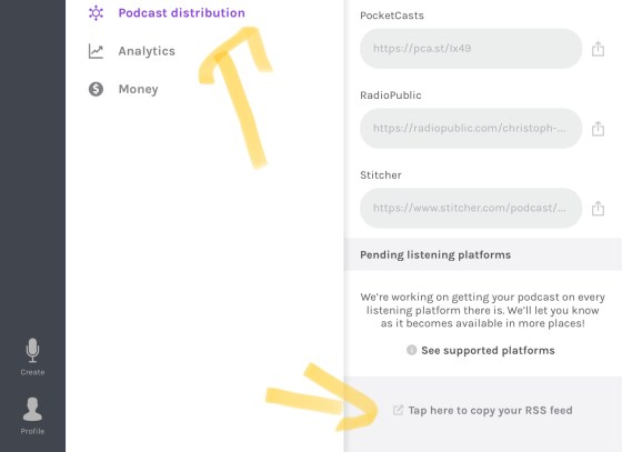 Finding your podcast RSS feed in Anchor