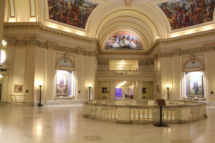 Oklahoma state capitol interior wall of portraits