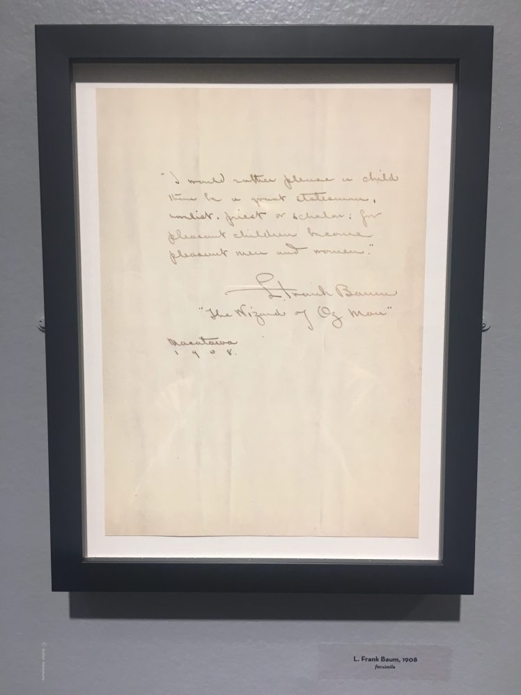 L. Frank Baum Letter, as exhibited at Los Angeles Central Library