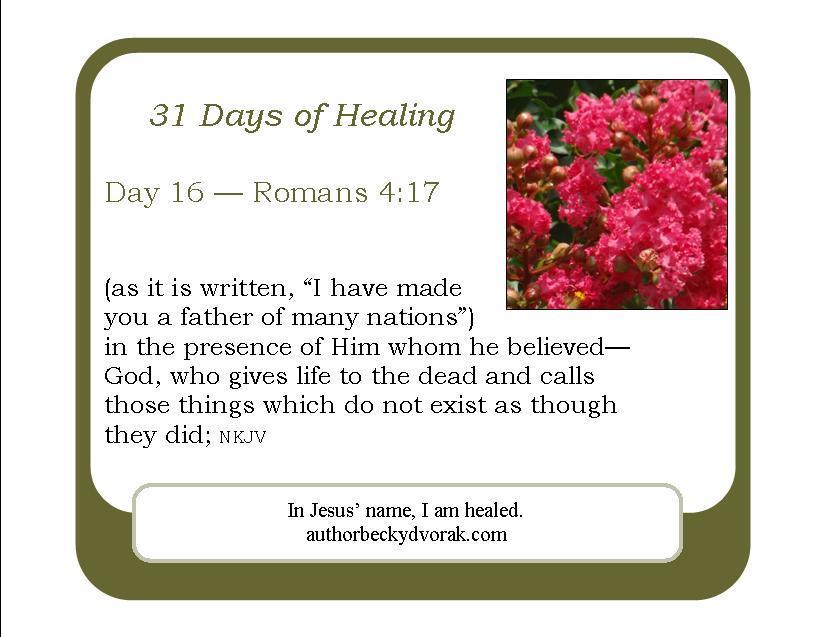 31 Days of Healing Scriptures - Becky Dvorak - Healing And
