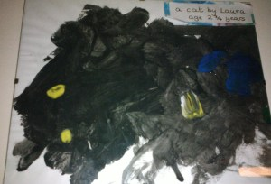Black cat painted by Laura at the age of 2