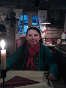 Laura inside the Heisses Stein restaurant