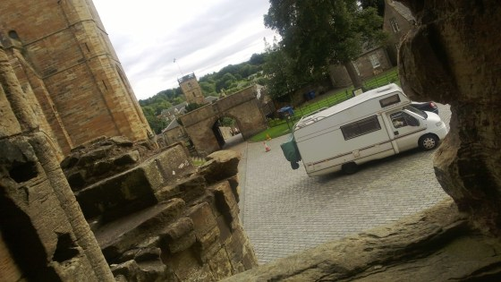 Our camper van outside Linlithgow Palace, Scotland