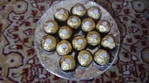 Platter of Ferrero Rocher chocolates