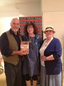 David Ebsworth, Debbie Young and Helen Hollick with the book in Foyles