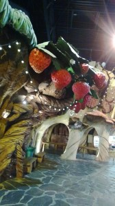 Giant strawberries overhead in Plopsaland