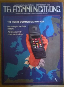 Cover of Telecommunications magazine from September 1988 showing large mobile phone