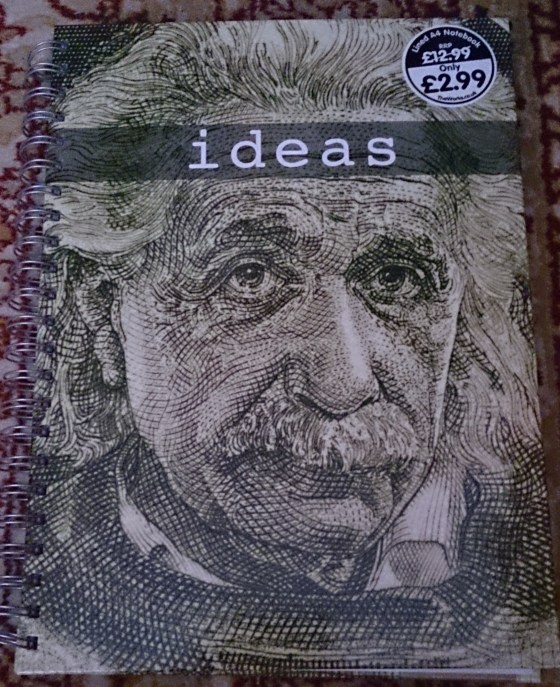 """Notebook showing Einstein's head and caption """"Ideas"""""""