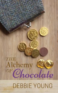 Cover image for The Alchemy of Chocolate showing chocolate coins falling out of a purse