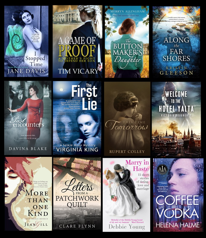 Array of 12 book covers