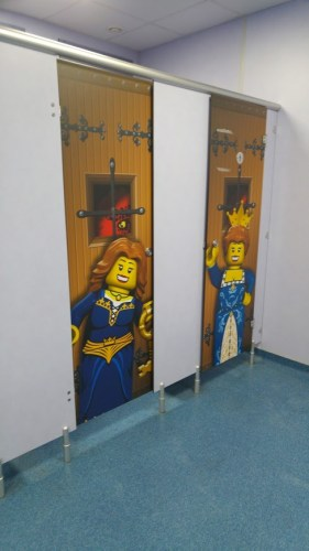 photo of toilet doors with Lego people on them