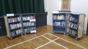 Photo of bookshelves open and stocked