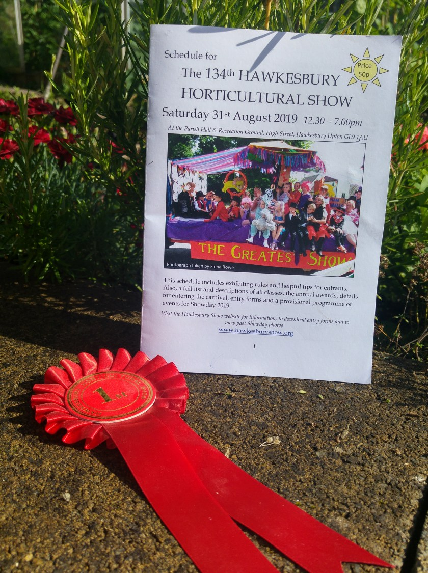 Photo of show schedule with first prize rosette